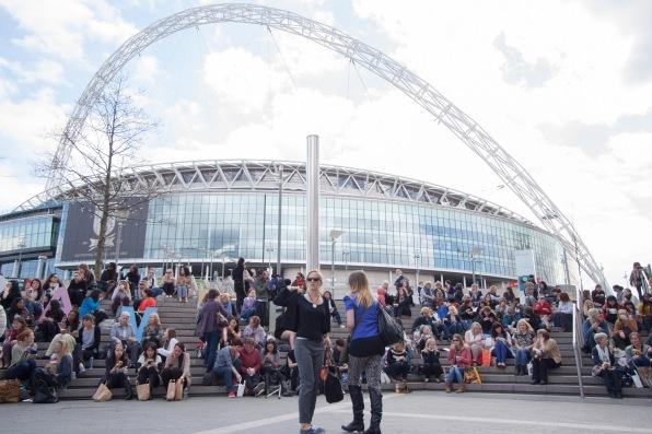 Wembley stadium as a backdrop